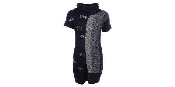 Dámské šedo-černé šaty s flitry Dislay DY Design
