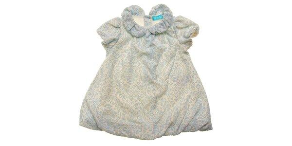 Bílé kojenecké šatičky Lullaby s modrým sametovým potiskem