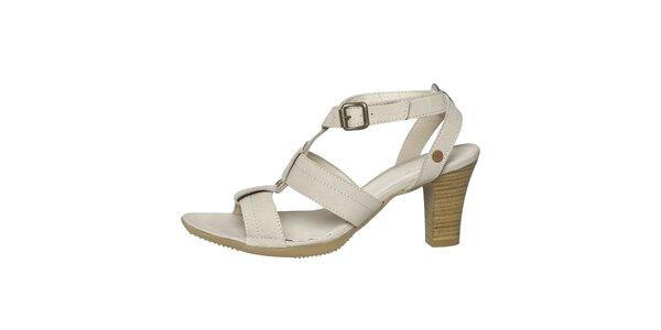 Dámské krémově bílé kožené sandálky Buggy