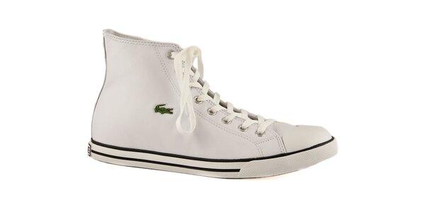 Bílé kožené kotníkové tenisky Lacoste