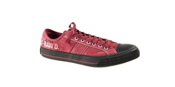Pánské červené textilní tenisky G-Star Raw s černou gumou