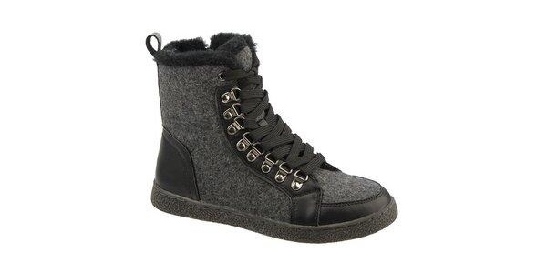 Dámské šedo-černé šněrovací boty Keddo