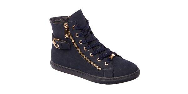 Dámské tmavě modré kotníkové boty s bočním zipem Keddo