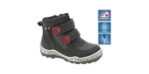 Dětské černé kotníkové boty s červenými prvky Beppi