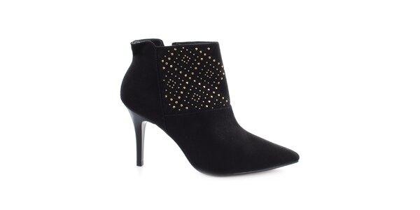 Dámské černé boty na jehlovém podpatku s cvočky Vizzano