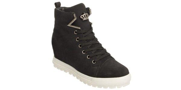 Dámské černé boty na platformě Keddo
