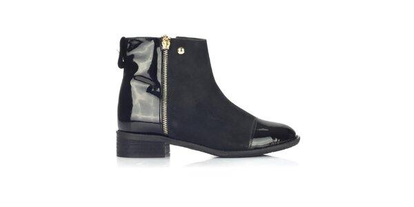 Dámské černé boty s lesklými částmi Joana and Paola