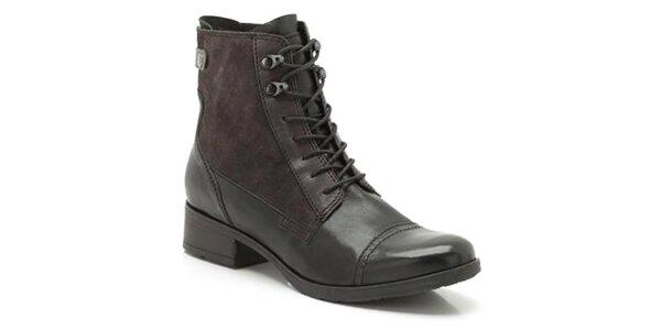 Dámské černé kotníkové boty s tkaničkami a zipem Clarks