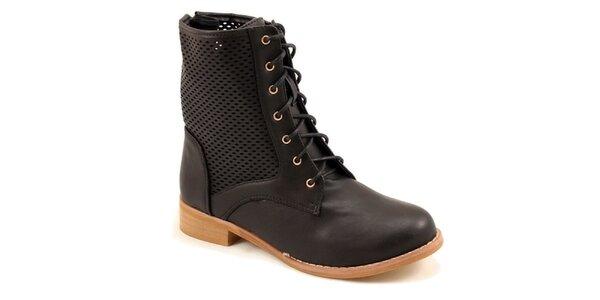 Dámské černé kotníkové perforované boty Bless