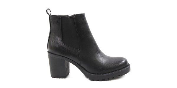 Dámské černé robustní boty na podpatku Drastik