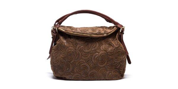 Dámká vzorovaná kožená kabelka v hnědé barvě Mangotti
