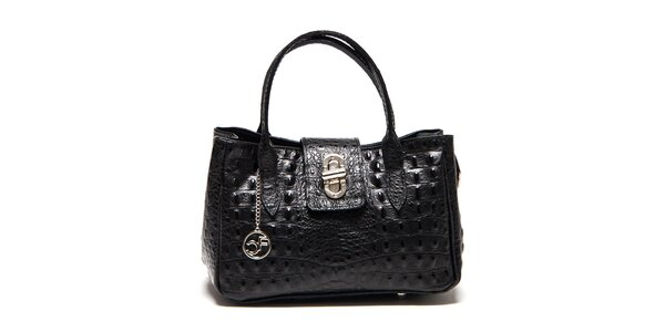 Dámská černá kabelka s motivem krokodýlí kůže Carla Ferreri