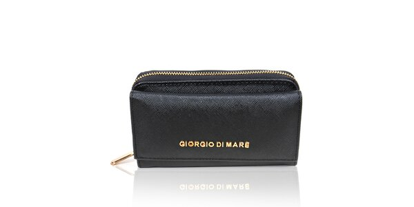 Dámská černá peněženka se zlatým zipem Giorgio di Mare