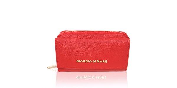Dámská červená peněženka se zlatým zipem Giorgio di Mare