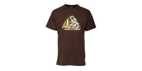 Pánské hnědé tričko s potiskem Chico