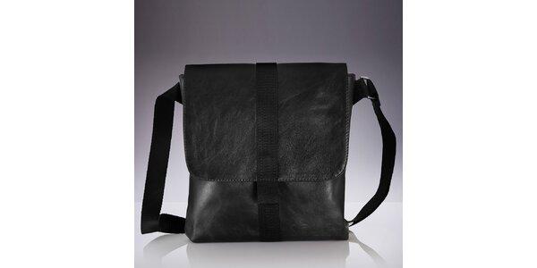 Pánská černá kožená crossbody taška Solier