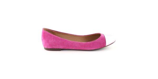 Dámské sytě růžové semišové balerínky s kontrastní špičkou Arezzo
