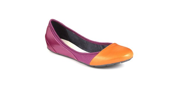 Dámské fuchsiové balerínky s oranžovou špičkou Clarks