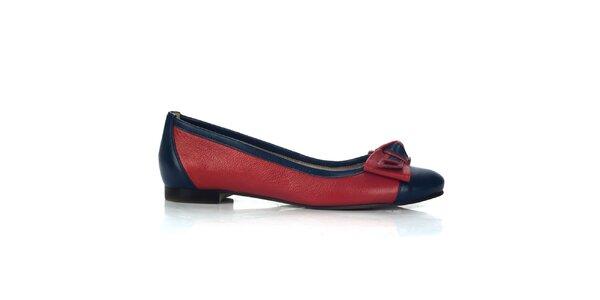 Dámské červeno-modré kožené balerínky Joana and Paola