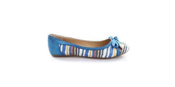 Dámské modré balerínky s barevnými proužky So Real