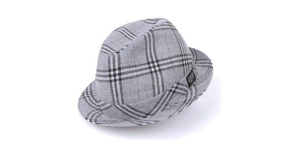 Pánský šedý károvaný klobouk Chico