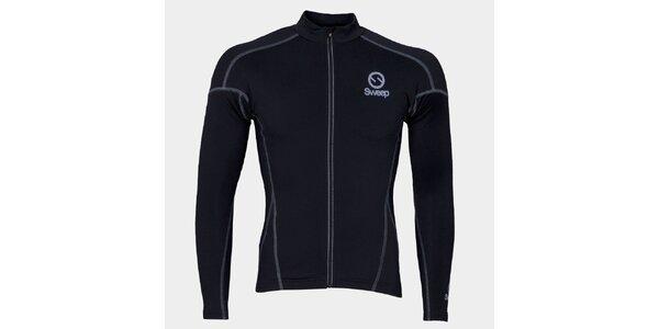 Černý cyklistický dres s dlouhým rukávem Sweep