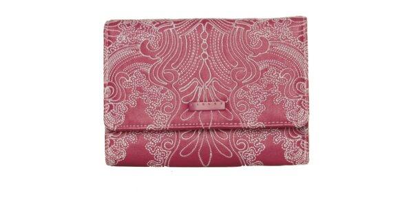 Dámská růžová peněženka Sisley s výšivkou