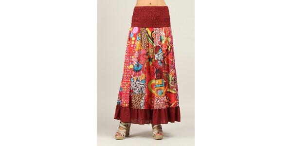 Dámská barevně vzorovaná sukně s tmavě červenými lemy Ziva