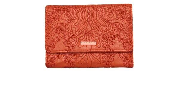 Dámská ohnivě červená peněženka Sisley s výšivkou