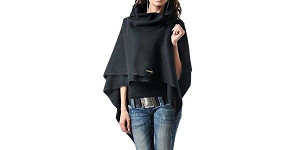 Dámské černé kašmírové pončo Female Fashion