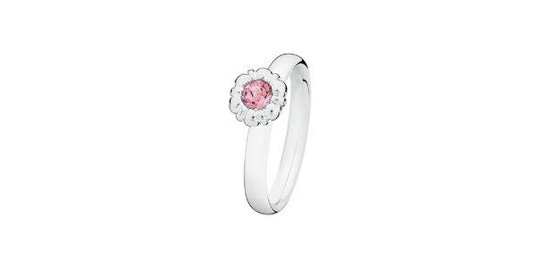 Dámský prstýnek s růžovou květinou Spinning