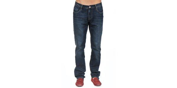 Pánské tmavě modré džíny s jemným šisováním Giorgio di Mare