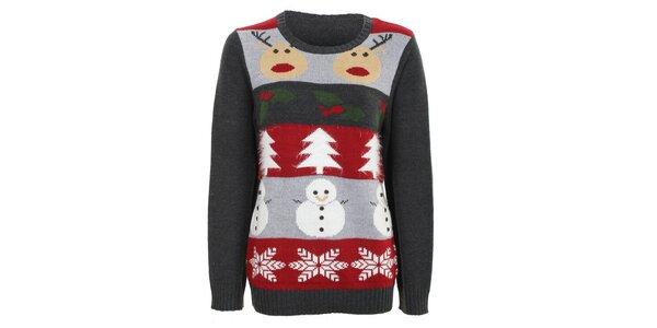 Dámský tmavě šedý svetr s barevnými vánočními motivy Sugar Crisp