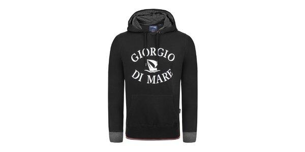 Pánská černá mikina s bílým nápisem Giorgio Di Mare