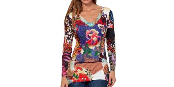 Dámské barevné tričko s dlouhým rukávem Peace&Love