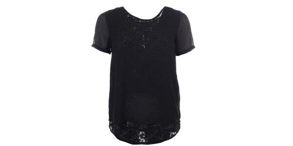 Dámské černé tričko s krajkovým ukončením Madam Rage