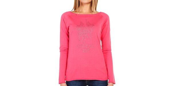 Dámské růžové tričko s třpytivými kamínky Galvanni