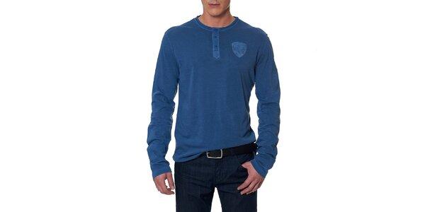 Pánské modré tričko s dlouhým rukávem Paul Stragas