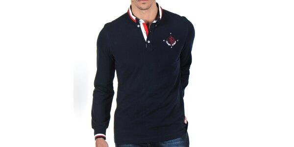 Pánské tmavě modré polo tričko s pruhovaným límečkem Giorgio Di Mare