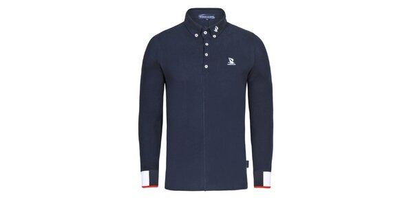 Pánské tmavě modré polo triko s dlouhým rukávem Giorgio di Mare