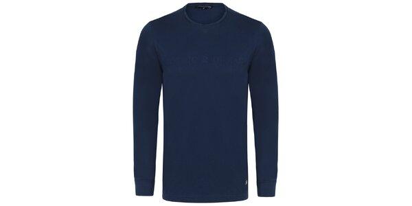 Pánské tmavě modré tričko s dlouhým rukávem Giorgio di Mare