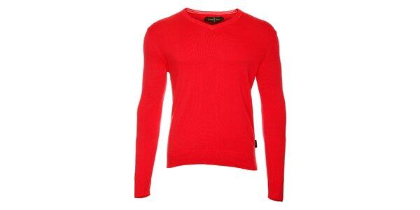 Pánský červený svetr s výstřihem do V Roberto Verino