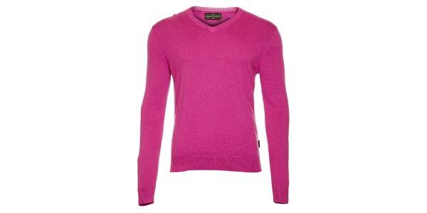 Pánský fuchsiový svetr s výstřihem do V Roberto Verino