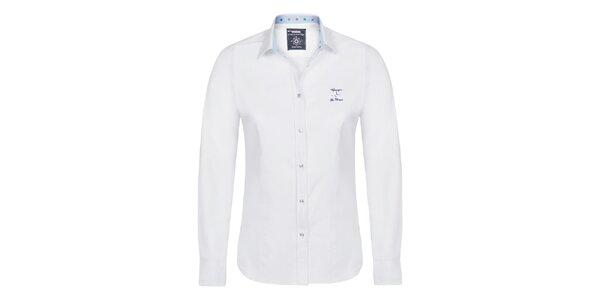 Dámská bílá košile s modrými vnitřními manžetami Giorgio di Mare