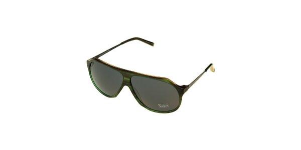 Dámské tmavě zelené žíhané sluneční brýle Axcent