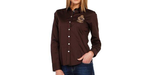 c82fe4657f0 Dámská tmavě hnědá košile s dlouhým rukávem Galvanni
