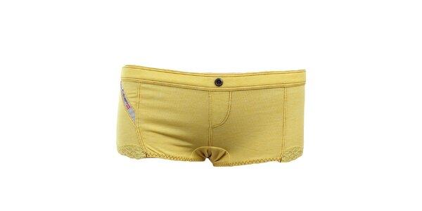 Dámské žluté nohavičky s krajkou Diesel