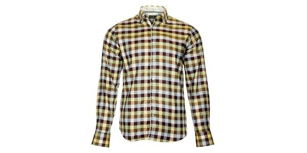 Pánská hnědá kostkovaná košile Roberto Verino