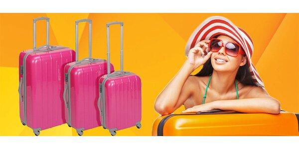 3 moderní kufry v neonově růžové