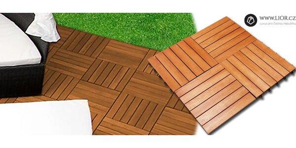 Dřevěné dlaždice ke snadné montáži 4 ks - Plug-in
